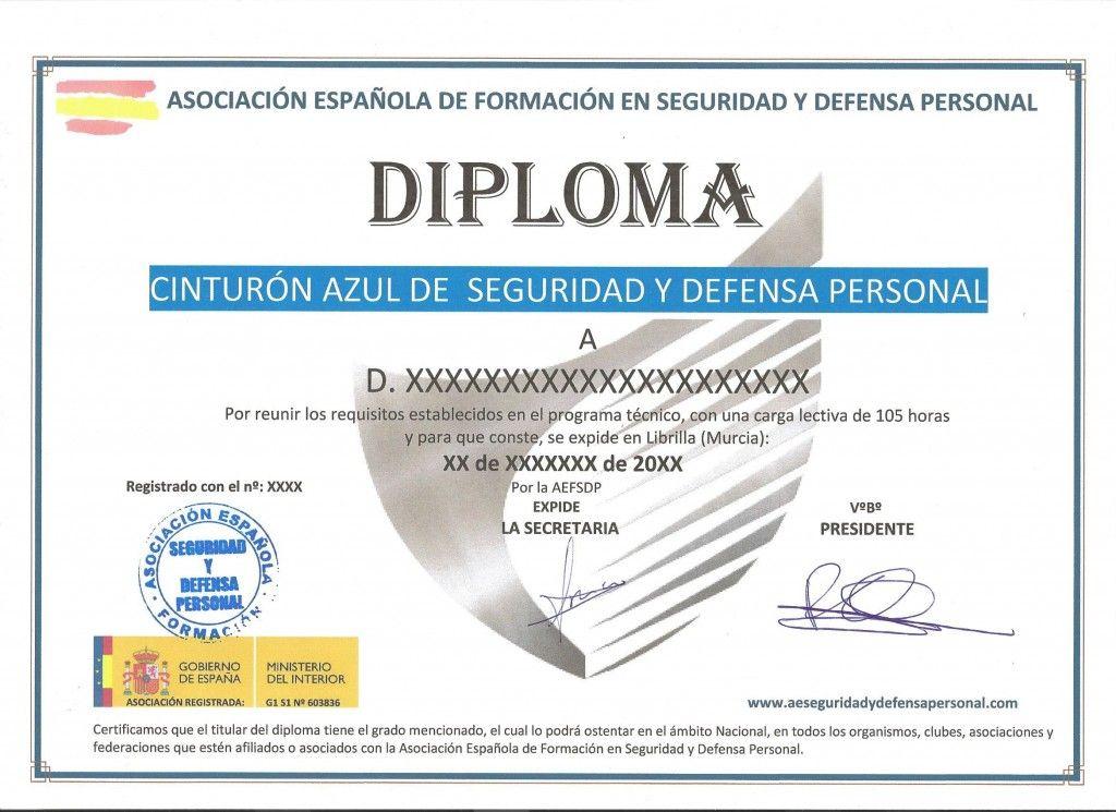 cinturon azul diploma defensa personal