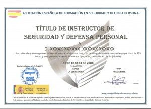 clases defensa personal titulo diploma