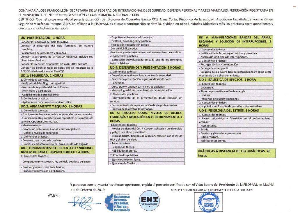 REVERSO DEL DIPLOMA: Con certificado de los contenidos y carga lectiva.