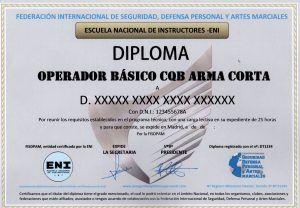 DIPLOMA FEDERATIVO DE OPERADOR BÁSICO CQB ARMA CORTA: ANVERSO