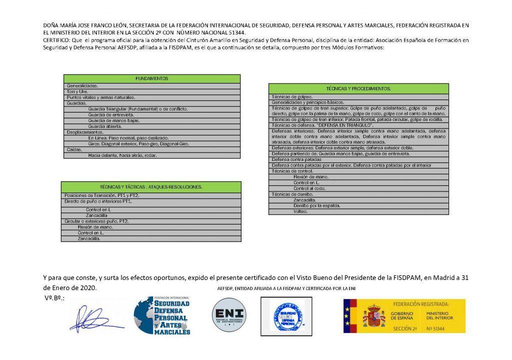 diploma federativo cinturon amarillo DE MUESTRA