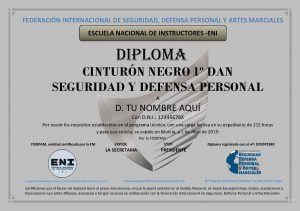 diploma federativo cinturon NEGRO DE MUESTRA